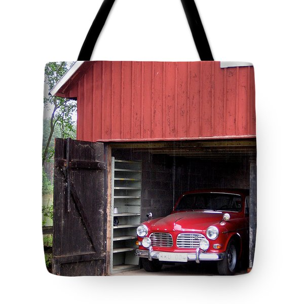 1967 Volvo In Red Sweden Barn Tote Bag