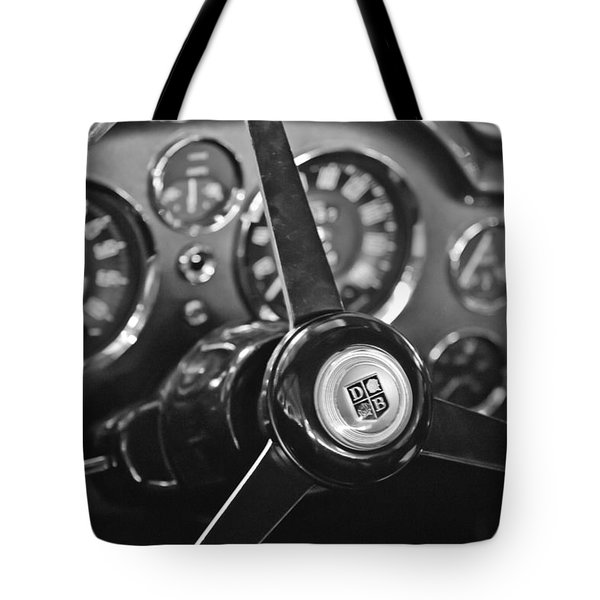 Tote Bag featuring the photograph 1968 Aston Martin Steering Wheel Emblem by Jill Reger