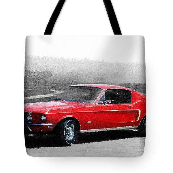 1968 Ford Mustang Watercolor Tote Bag