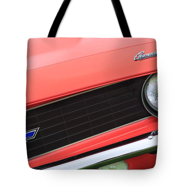 1969 Chevrolet Camaro Copo Replica Grille Emblems Tote Bag by Jill Reger