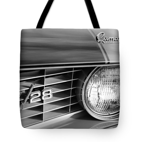 1969 Chevrolet Camaro Z-28 Grille Emblems Tote Bag by Jill Reger