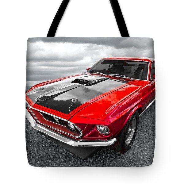 1969 Red 428 Mach 1 Cobra Jet Mustang Tote Bag