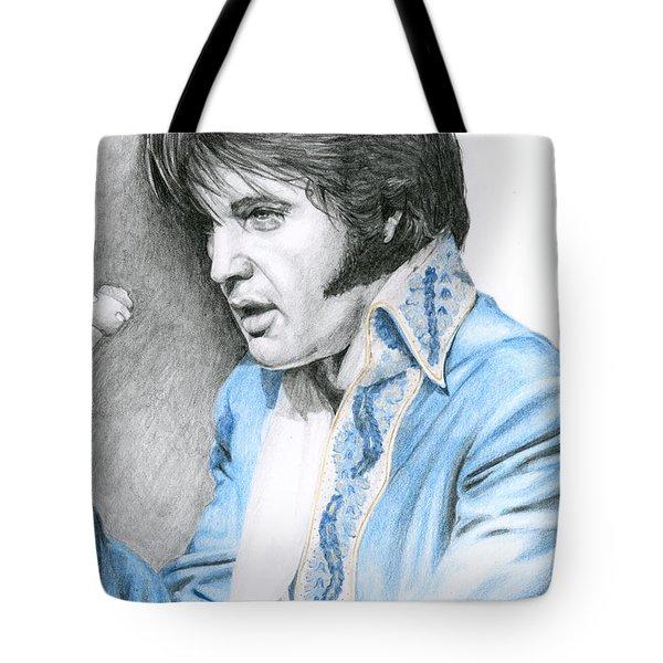 1970 Blue Brocade Suit Tote Bag