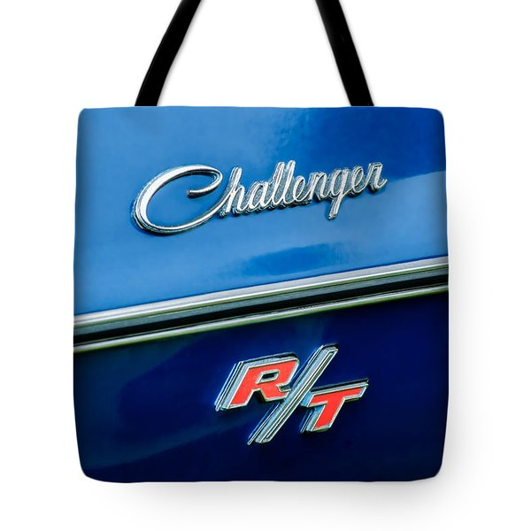 1970 Dodge Challenger Rt Convertible Emblem Tote Bag by Jill Reger