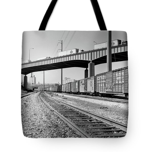 1970s Angled View Of Freight Train Tote Bag