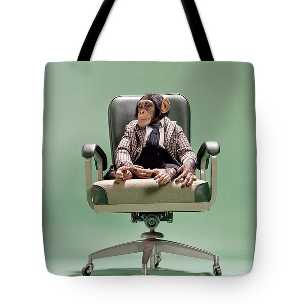 1970s Chimpanzee Sitting On Office Chair Tote Bag