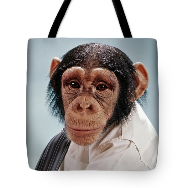 1970s Close-up Face Chimpanzee Looking Tote Bag