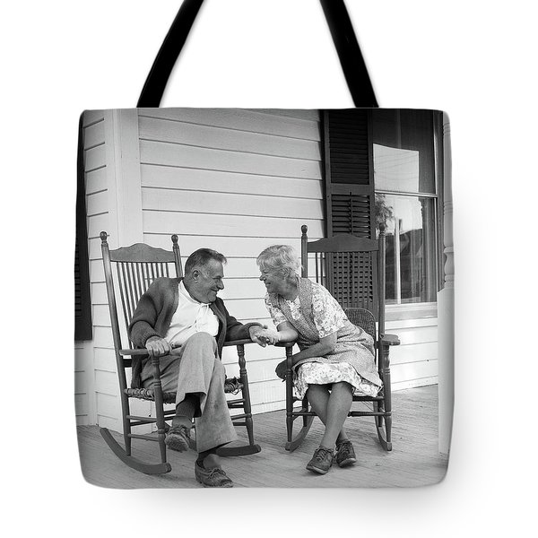 1970s Elderly Couple In Rocking Chairs Tote Bag