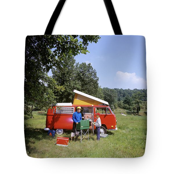 1970s Father And Son Cooking Tote Bag