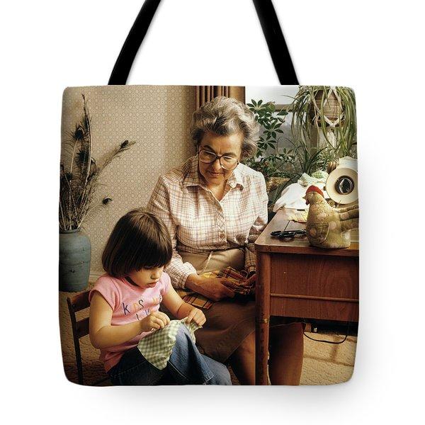 1970s Grandmother And Granddaughter Tote Bag
