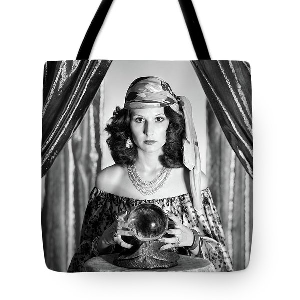1970s Gypsy Woman Between Sparkly Tote Bag