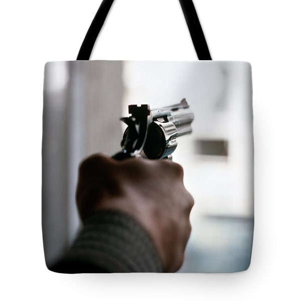 1970s Male Hand Aiming Revolver Tote Bag