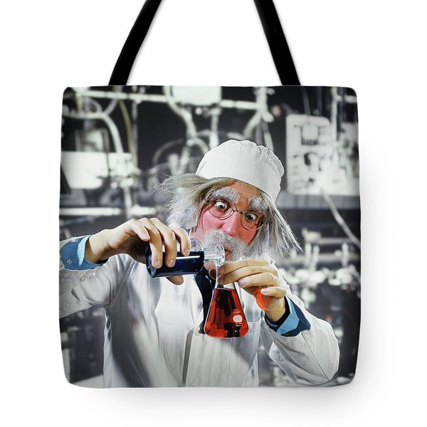 1970s Man Crazy Loony Mad Scientist Tote Bag