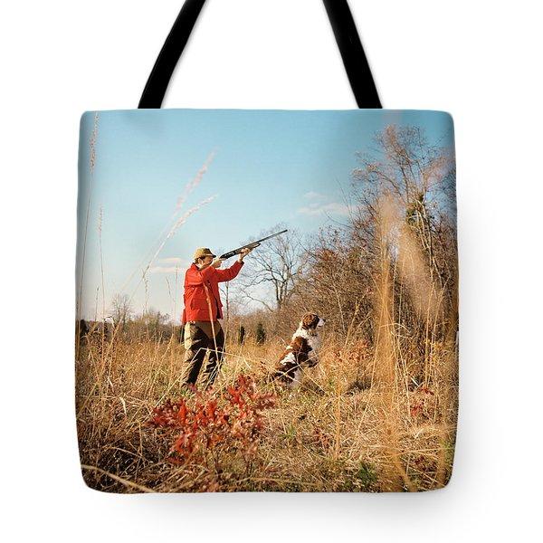 1970s Man Hunter With Dog Shooting Gun Tote Bag