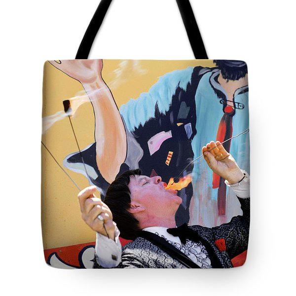 1970s Man In Tuxedo Performing Fire Tote Bag