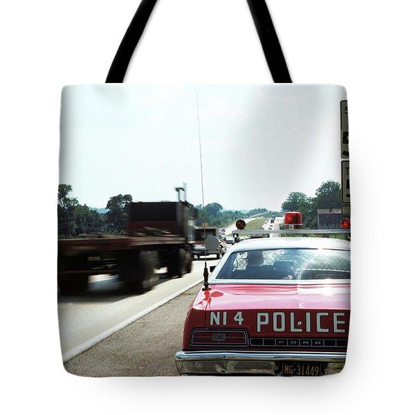 1970s Police Car With Radar Gun Tote Bag