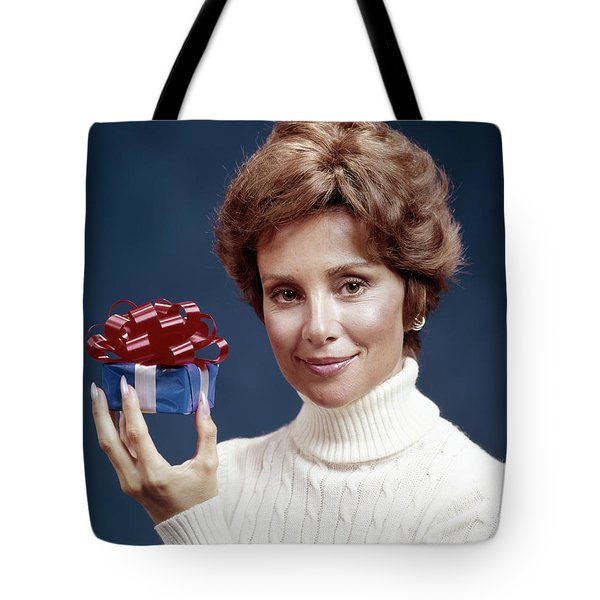 1970s Portrait Of Smiling Woman Wearing Tote Bag