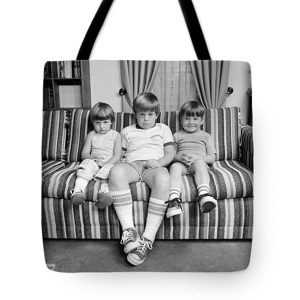 1970s Three Siblings Sitting On Couch Tote Bag