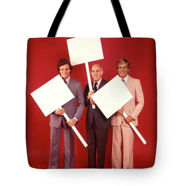 1970s Three Smiling Businessmen Men Tote Bag