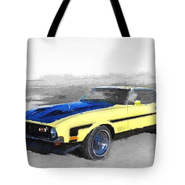 1971 Ford Mustang Boss Watercolor Tote Bag