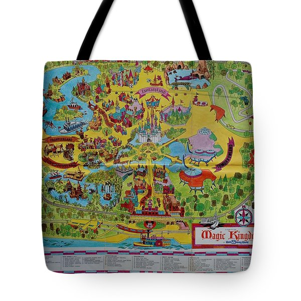 1971 Original Map Of The Magic Kingdom Tote Bag