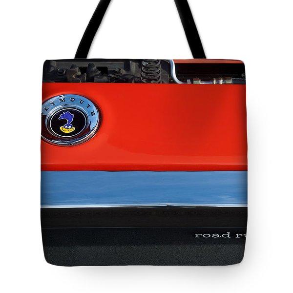 1972 Plymouth Road Runner Hood Emblem Tote Bag by Jill Reger