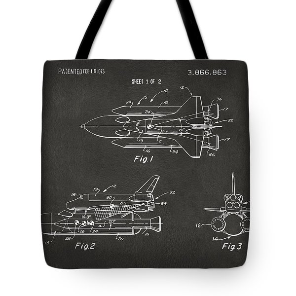 1975 Space Shuttle Patent - Gray Tote Bag