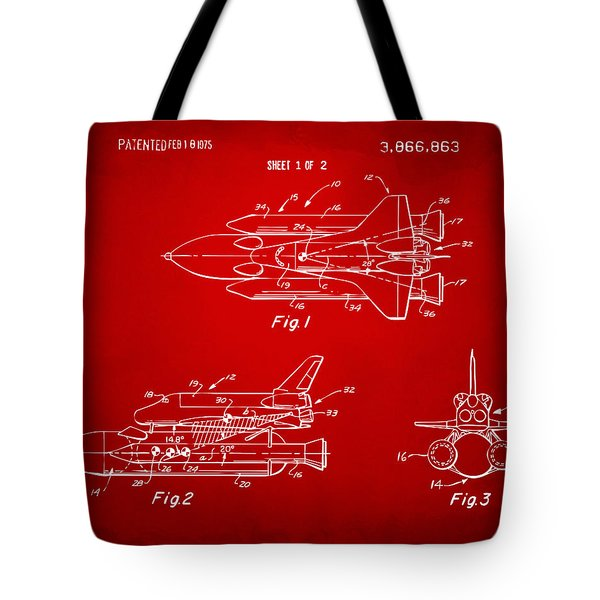 1975 Space Shuttle Patent - Red Tote Bag