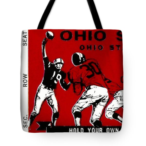 1979 Ohio State Vs Wisconsin Football Ticket Tote Bag by David Patterson