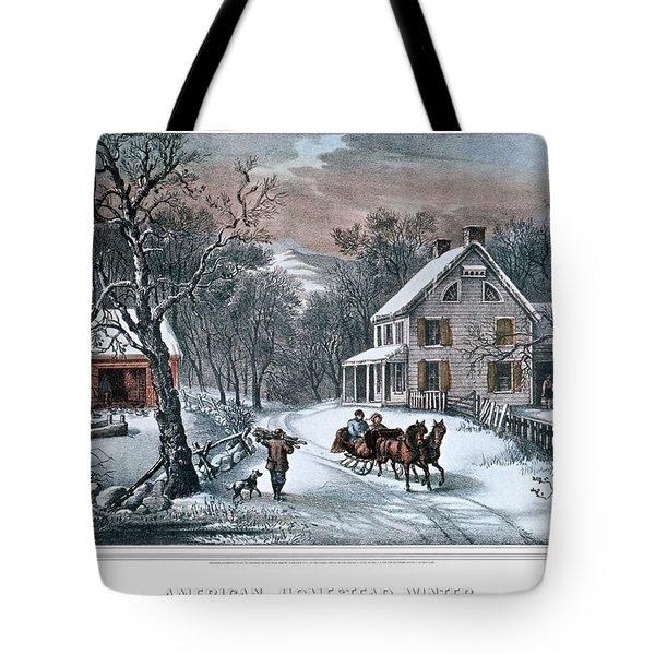 1980s American Homestead Winter - Tote Bag