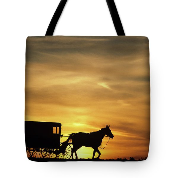 1980s Amish Horse And Buggy Silhouetted Tote Bag