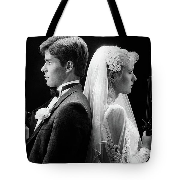 1980s Bride And Groom Standing Back Tote Bag