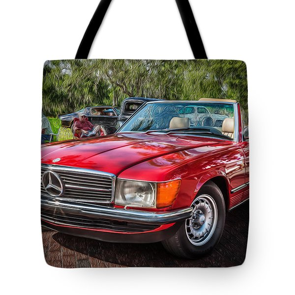 1984 Mercedes 500 Sl Painted  Tote Bag