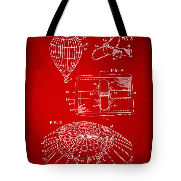1987 Hot Air Balloon Patent Artwork - Red Tote Bag