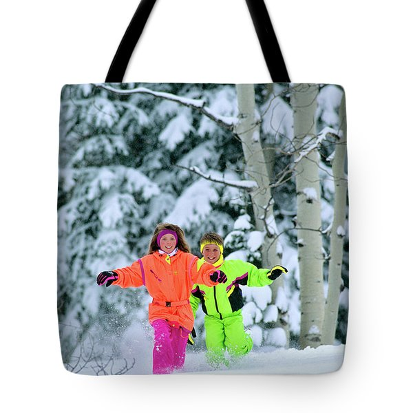 1990s Girl And Boy Running In The Snow Tote Bag