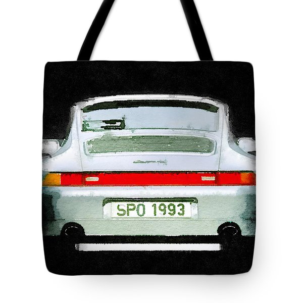 1993 Porsche 911 Rear Watercolor Tote Bag