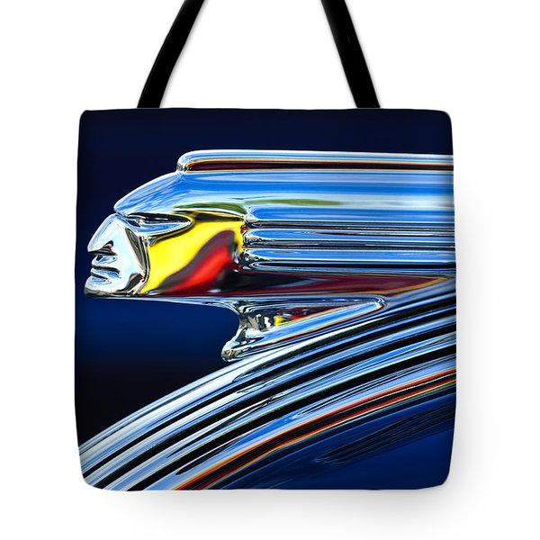 Tote Bag featuring the photograph 1939 Pontiac Silver Streak Chief Hood Ornament by Jill Reger