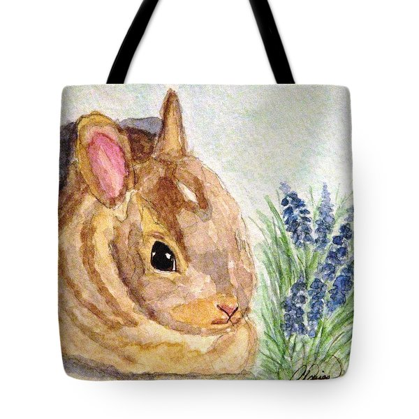 A Baby Bunny Tote Bag by Angela Davies