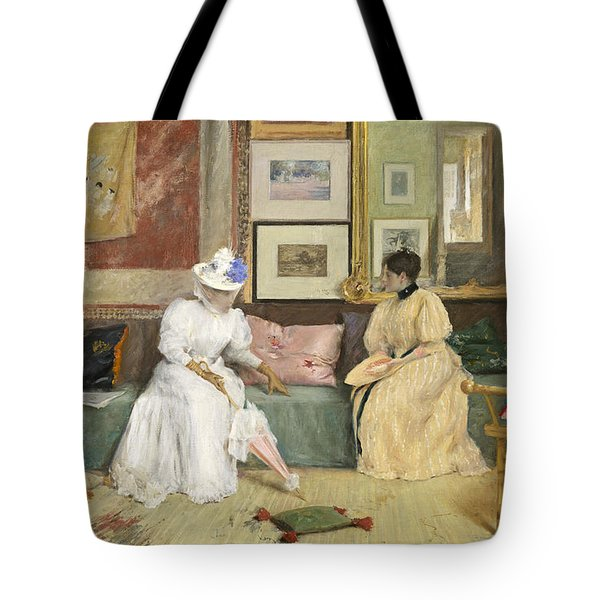 A Friendly Call Tote Bag by William Merritt Chase