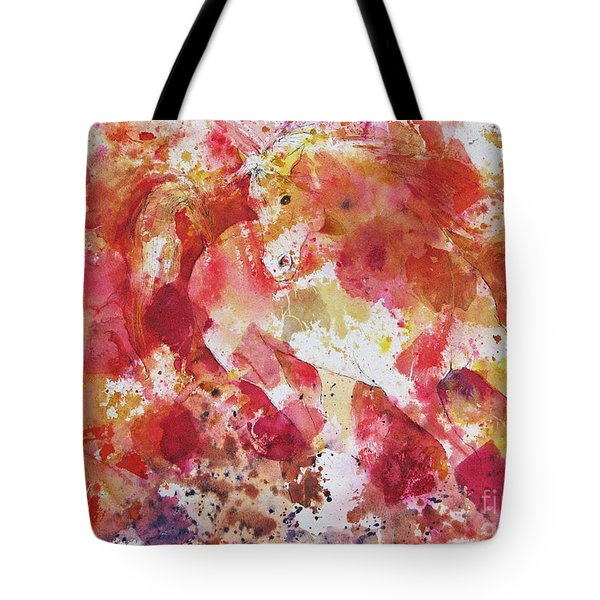 Tote Bag featuring the painting A Horse Appeared by Joan Hartenstein