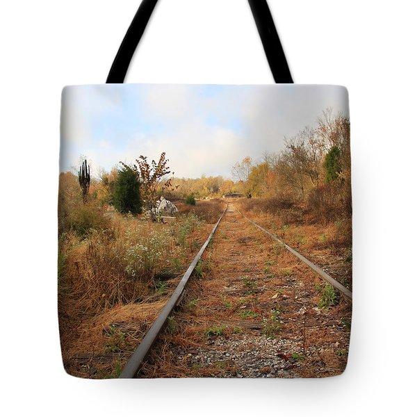 Abandoned Tracks Tote Bag by Melinda Fawver
