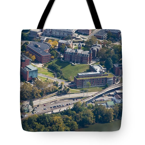 aerials of WVVU campus Tote Bag