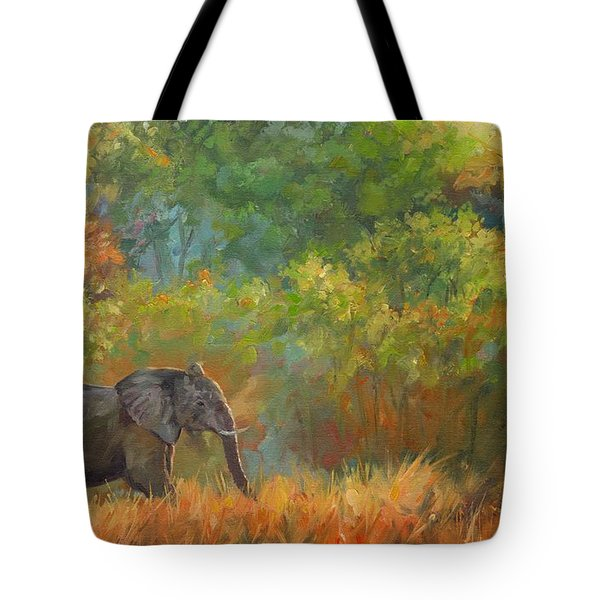 African Elephant Tote Bag by David Stribbling