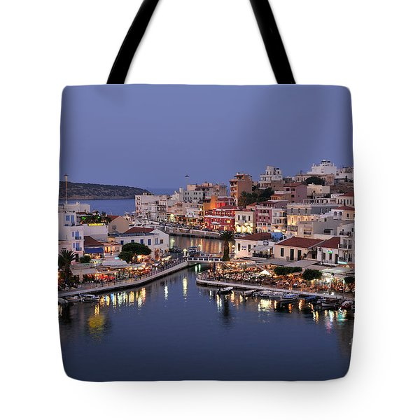 Agios Nikolaos City During Dusk Time Tote Bag
