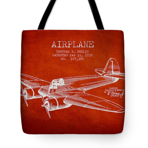 Airplane Patent Drawing From 1938 Tote Bag by Aged Pixel