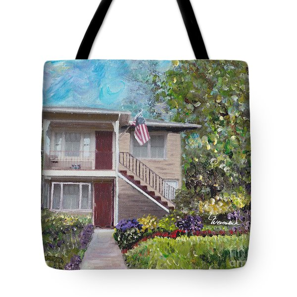 Tote Bag featuring the painting Alameda 1908 Duplex  by Linda Weinstock