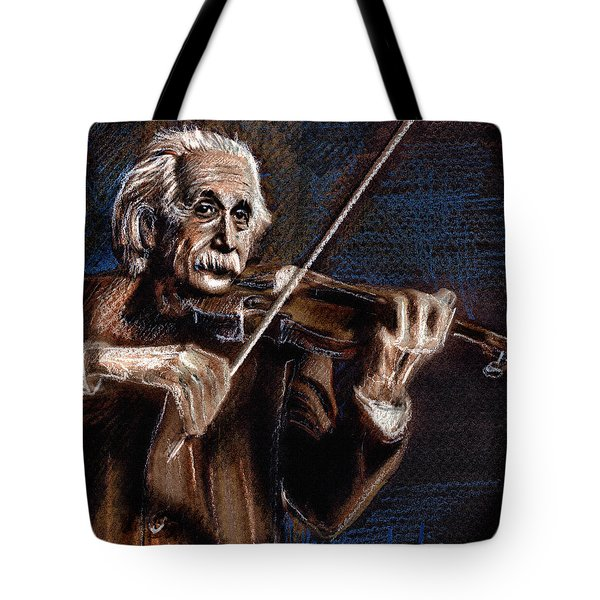 Albert Einstein And Violin Tote Bag