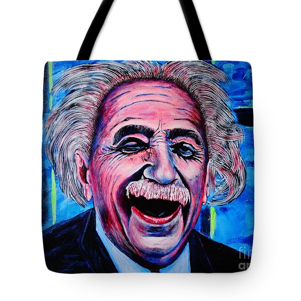 Tote Bag featuring the painting Albert Einstein by Viktor Lazarev