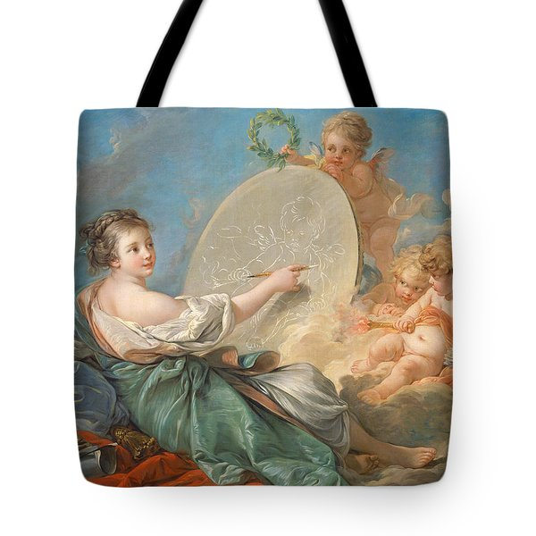 Allegory Of Painting Tote Bag by Francois Boucher