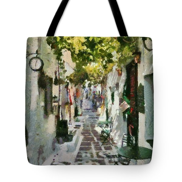 Alley In Ios Town Tote Bag